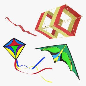 kites set modeled 3d model