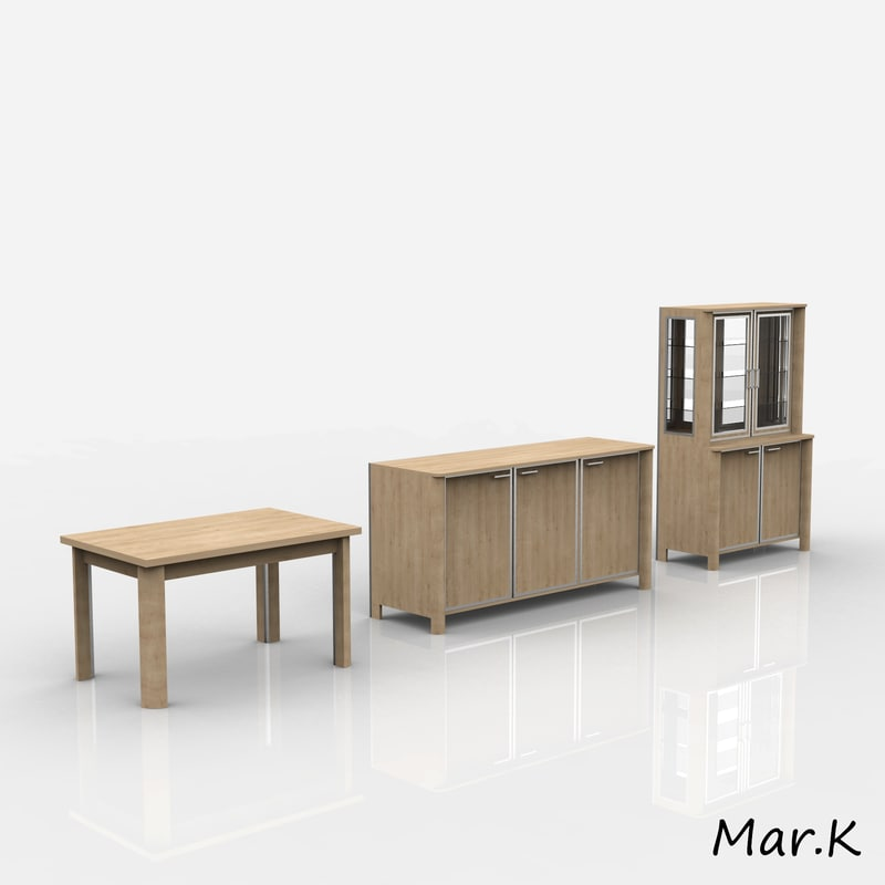dining room furniture 3d 3ds