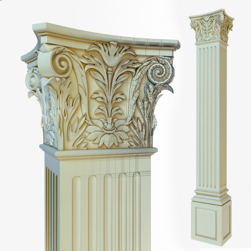 capital column classical 3d model