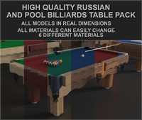 Pool and Russian billiards tables pack (9, 8, 7 ft)(Game ready)