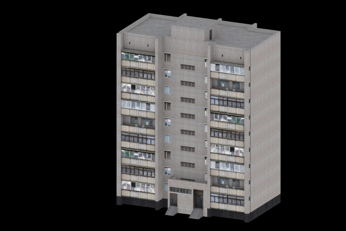 9 floor brick tenement 3d 3ds