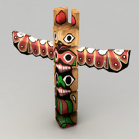 3d model native totem pole