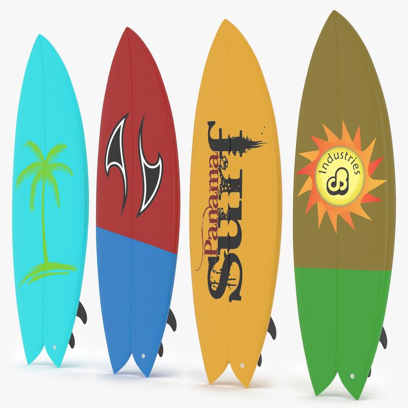 3d surfboard fish model