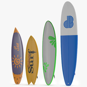 3d model surfboards set shortboard