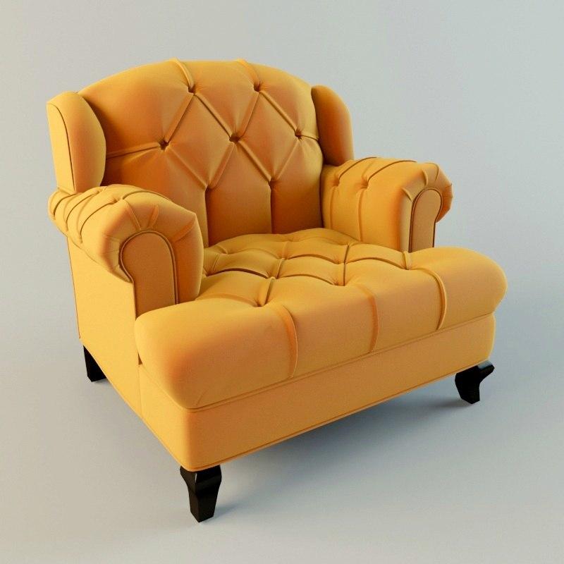 velvet orange armchair 3d max