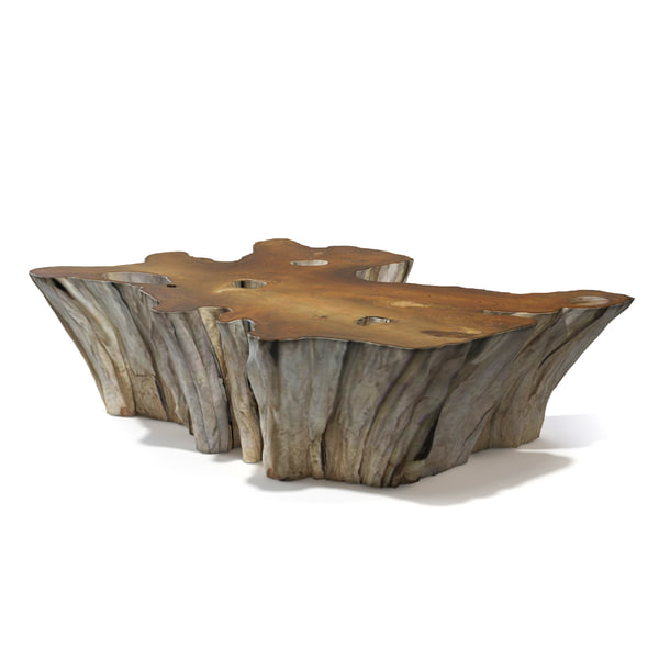3d teak root coffee table