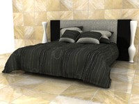 Man Design Double Bed With Quilted Blanket