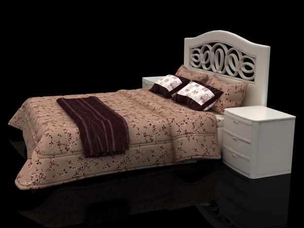 floral design bed hedboard 3d model