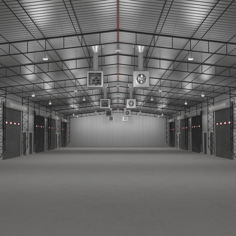 warehouse building interior 3d 3ds