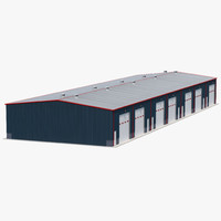 Warehouse Building 4 Blue 3D Model