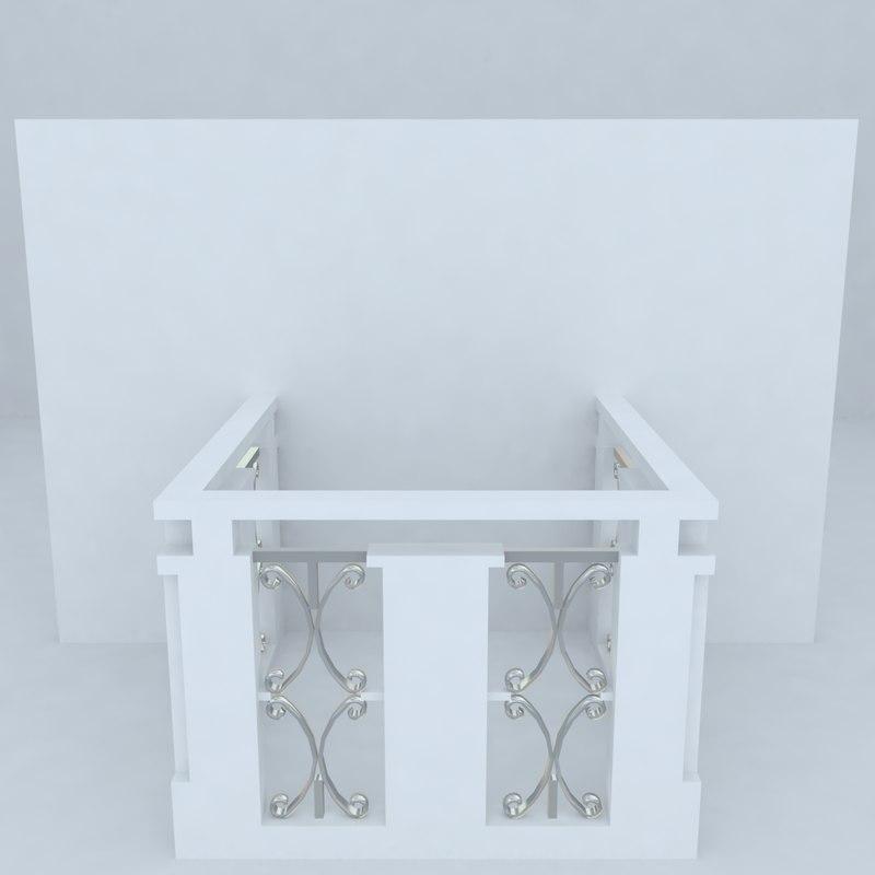 3d french balcony model
