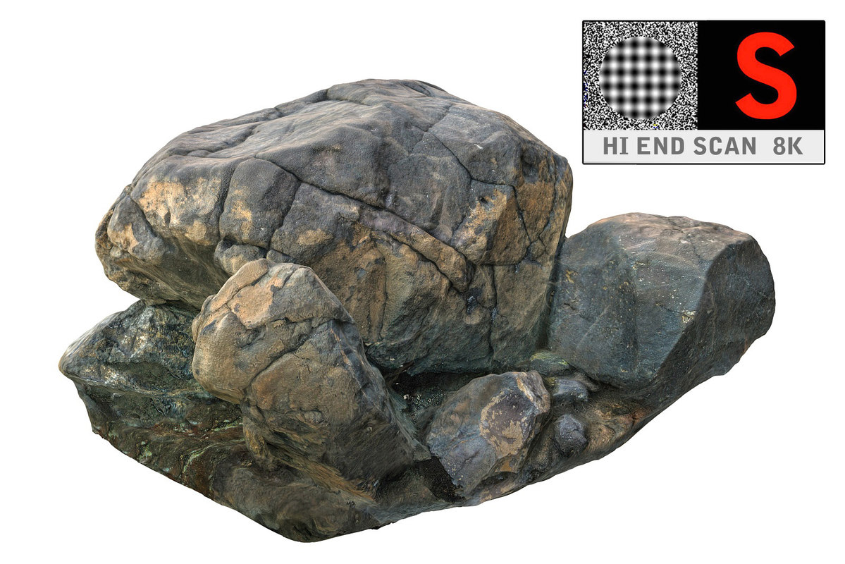 rock scan hd 8k 3d obj