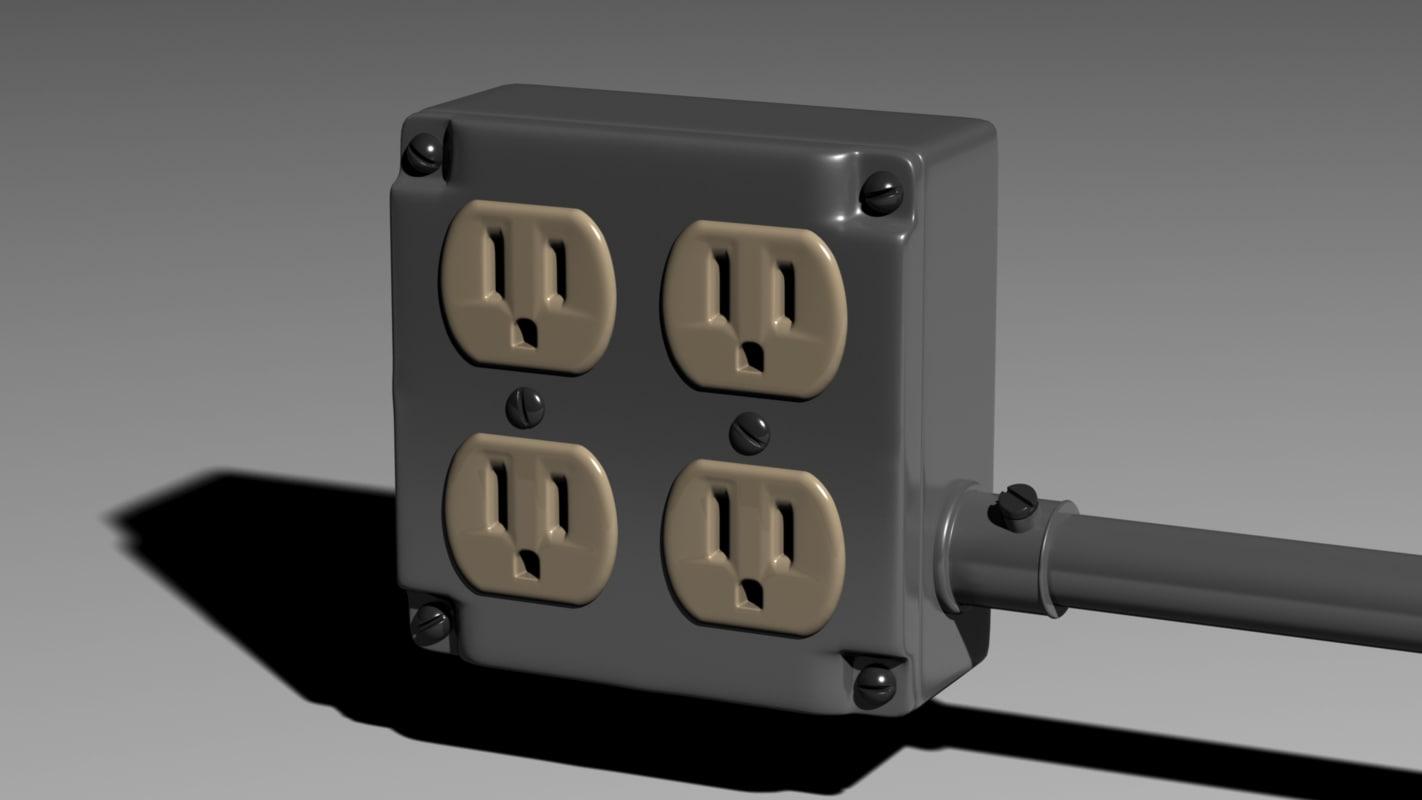 electrical junction box b 3d obj