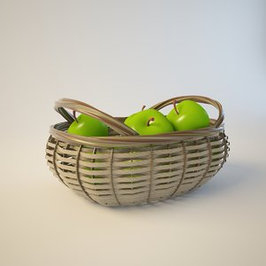 3d model basket juicy green apples