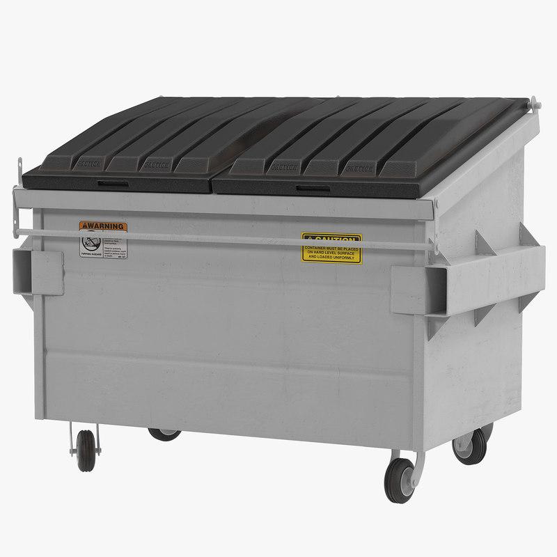 3d dumpster white model