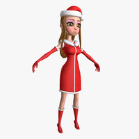 alla lady santa cartoon 3d model
