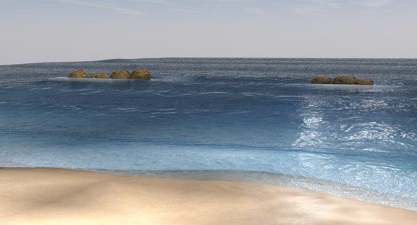 c4d beach water sky