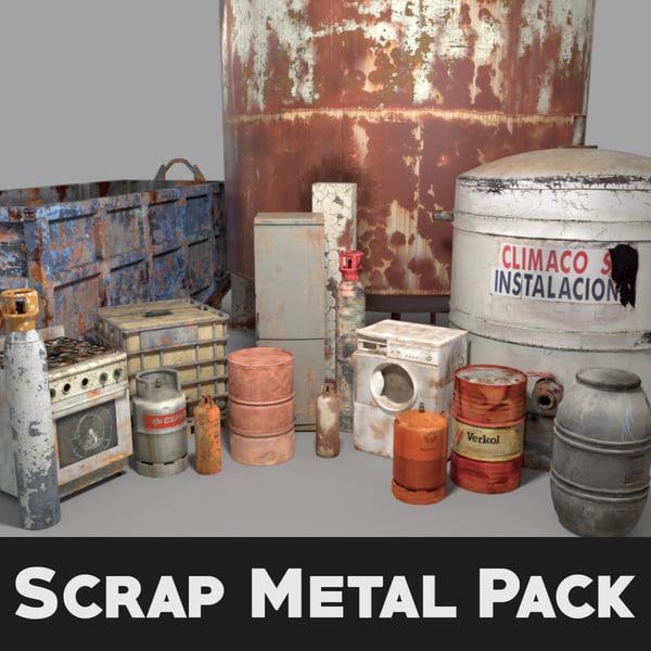 3d pack scrap rusted metal