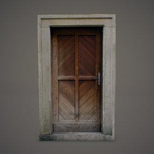 3ds max old wooden door