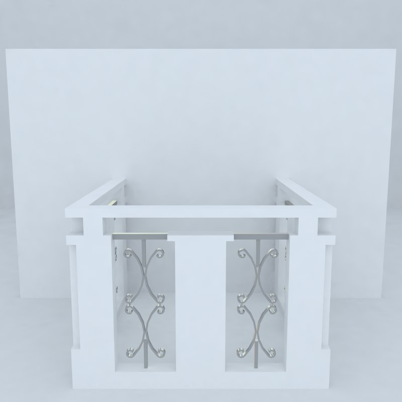 french balcony 3d max