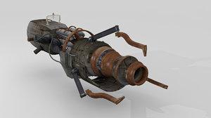 3d model steampunk rifle