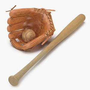 3d model baseball 3 bat
