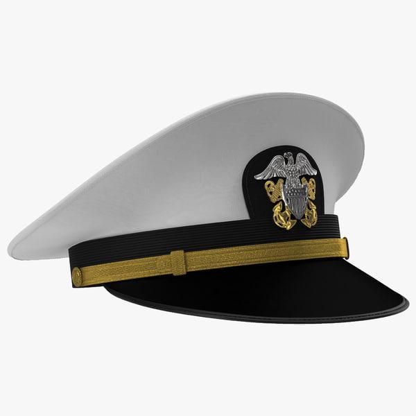 navy officer white hat 3d model