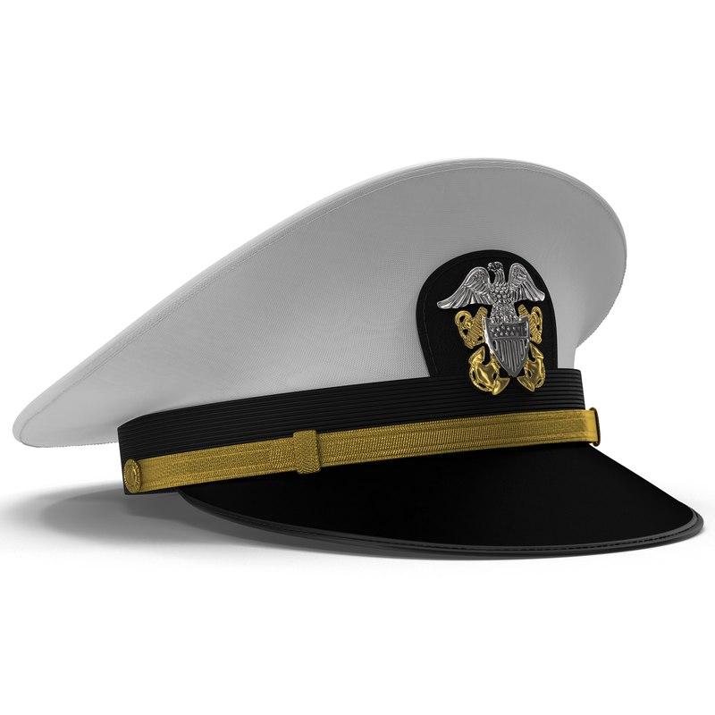 302219ee8c04df navy officer white hat 3d model