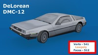 DeLorean DMC-12 Lowpoly