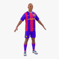 soccer player barcelona modeled 3d model