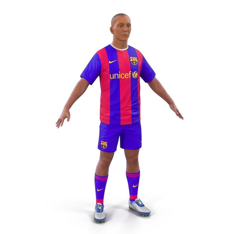 soccer player barcelona modeled 3d model