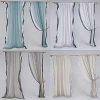 linen lace curtain 3d max
