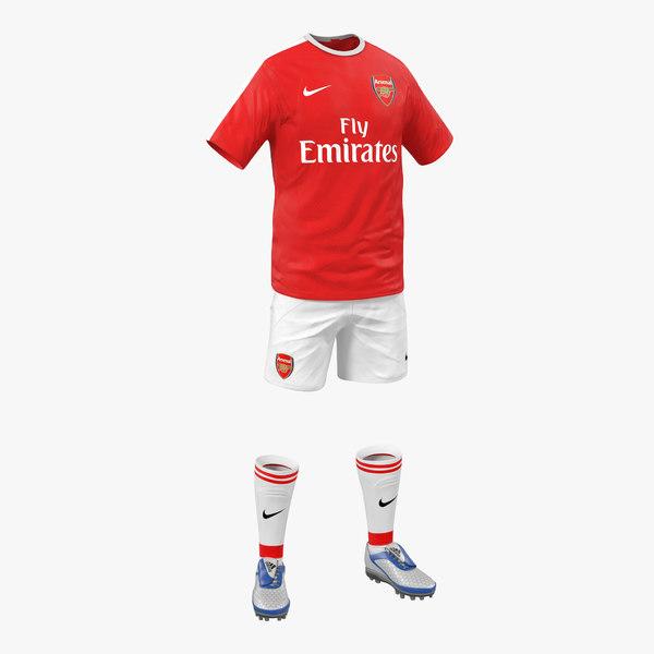 3d model soccer clothes arsenal
