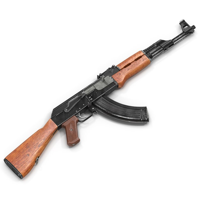 assault rifle ak 47 3d 3ds