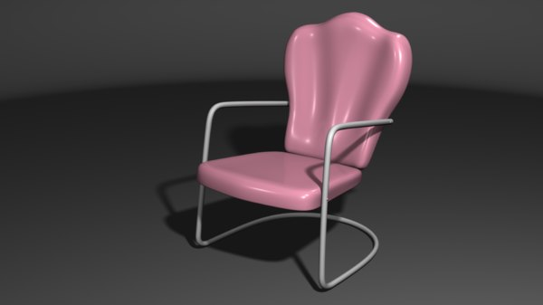 retro metal lawn chair 3d model