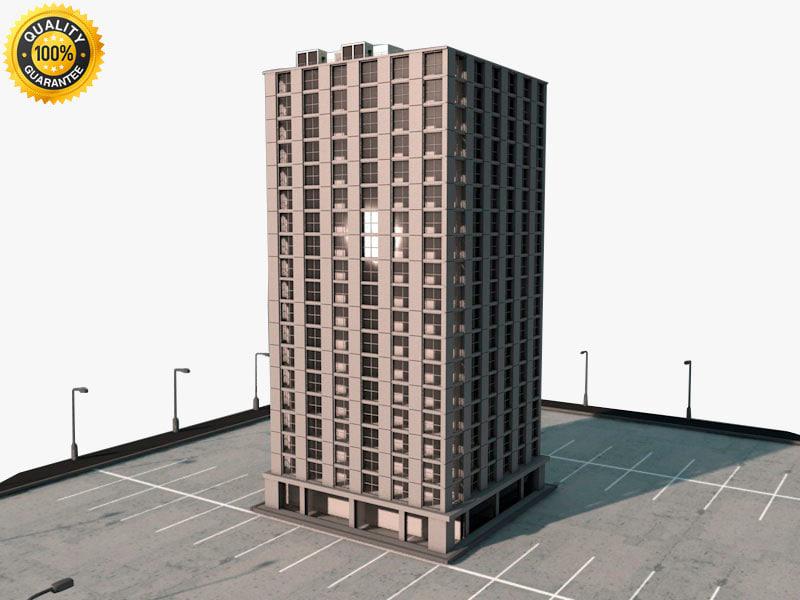 3d building parking lot model