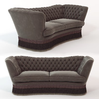 sofa library oak 3d obj