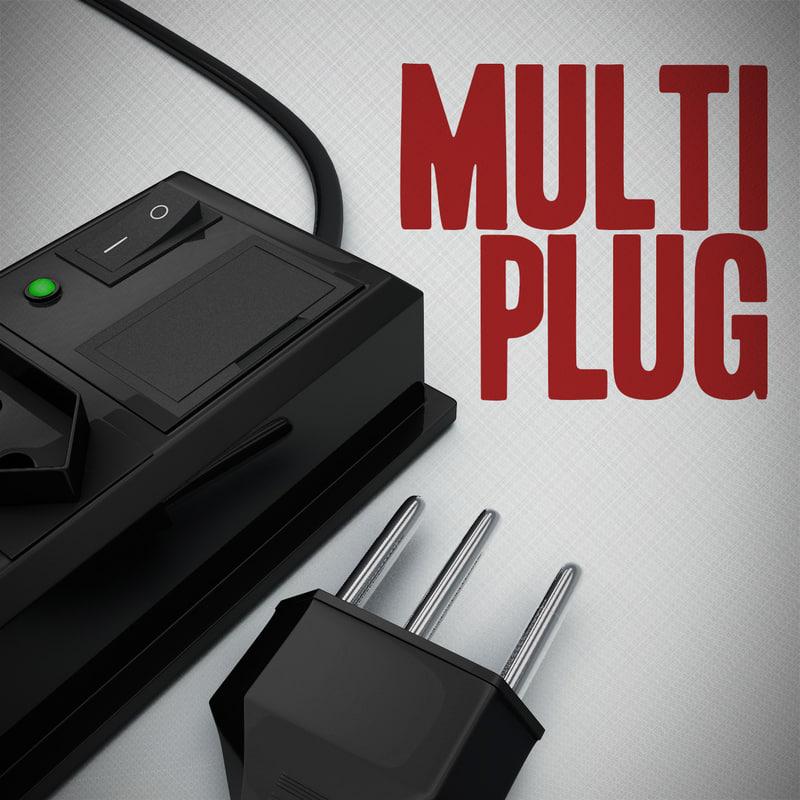 multiplug switzerland brazil 3d model