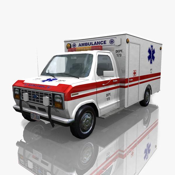 3d obj econoline 150 van ambulance