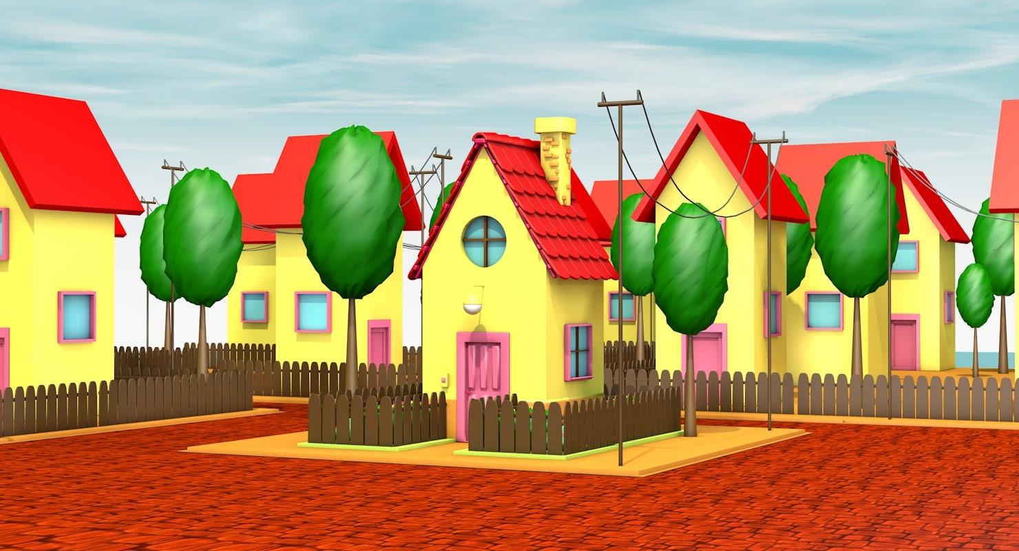 cartoon town 3d c4d