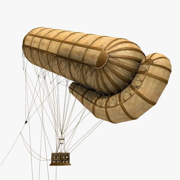 military german observation balloon 3d model