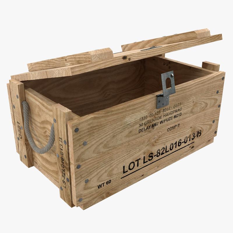 3d model wood box wooden