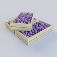 Plums in wooden container