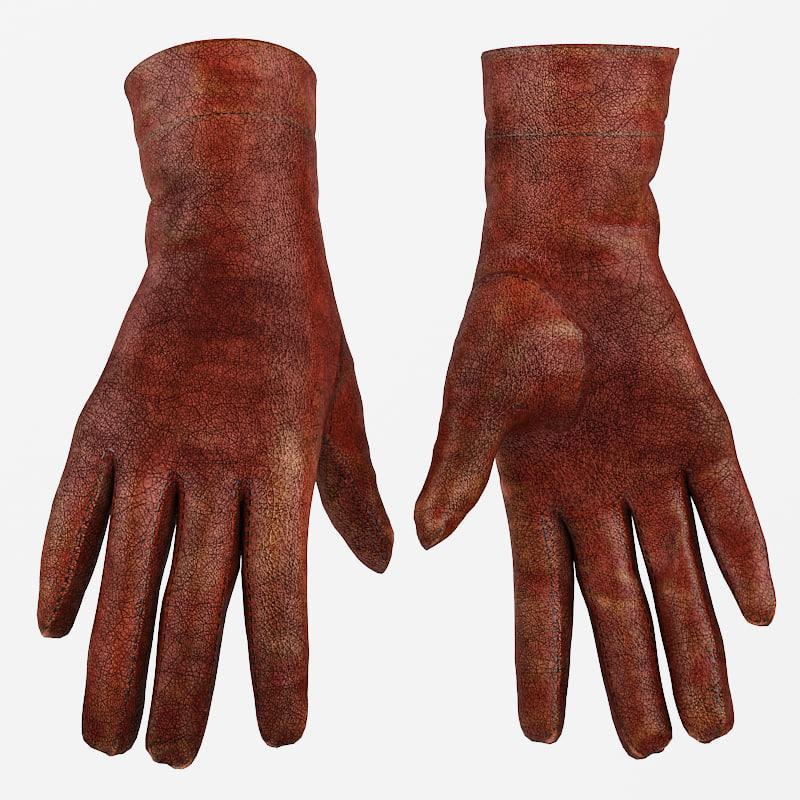 leather women s gloves 3d fbx