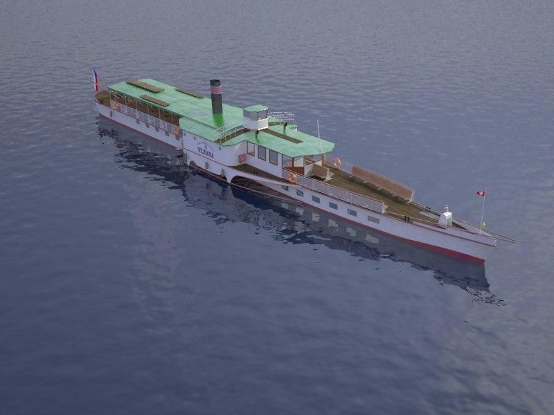 czech cruise boat vltava 3d model