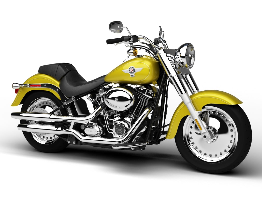 harley-davidson flstf softail fat 3d model