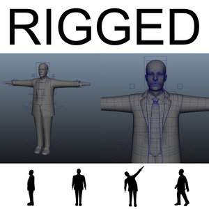 rigged human male mannequin obj
