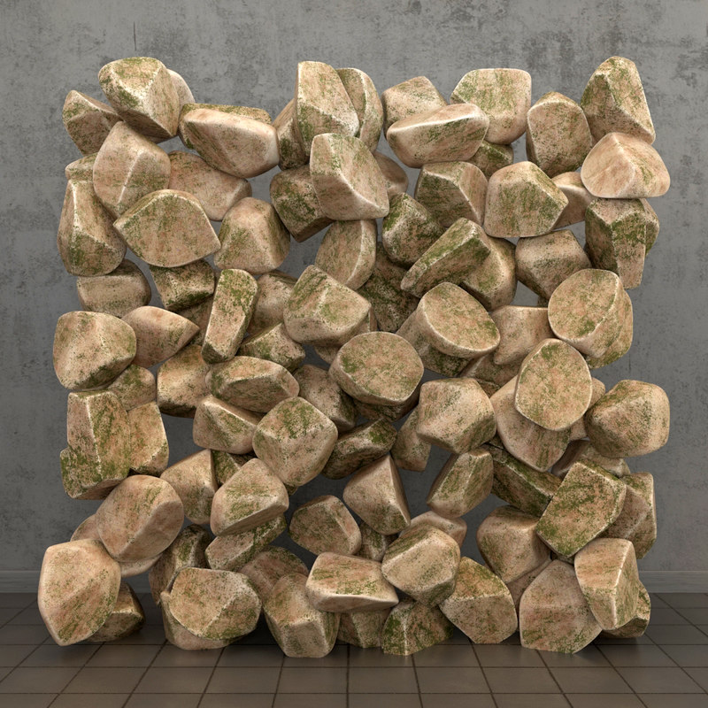 3d panel river stones model