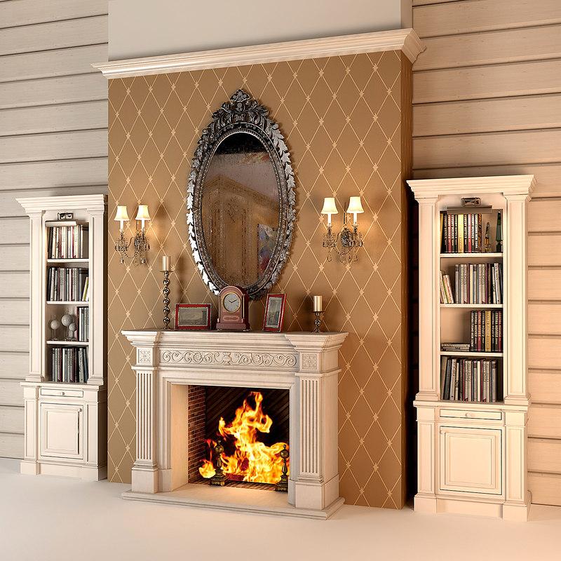 3d fireplace set interior model