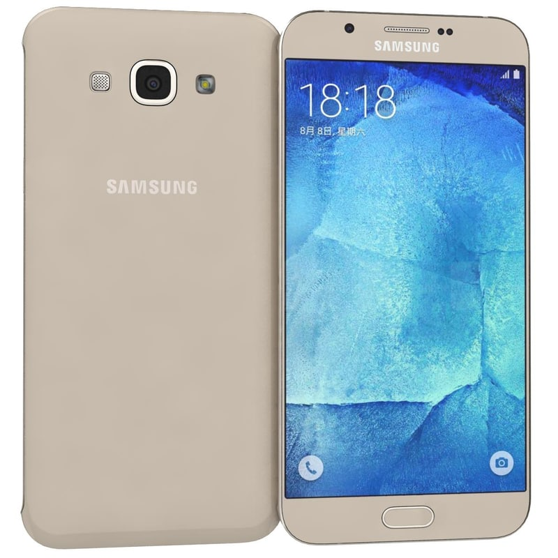samsung galaxy a8 gold 3d obj